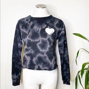 Barre 3 | Tie Dye Crop Sweatshirt w/ Heart Sz. S